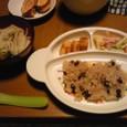 【後期】赤飯+ニンジン入り卵焼+マカロニ+うどん
